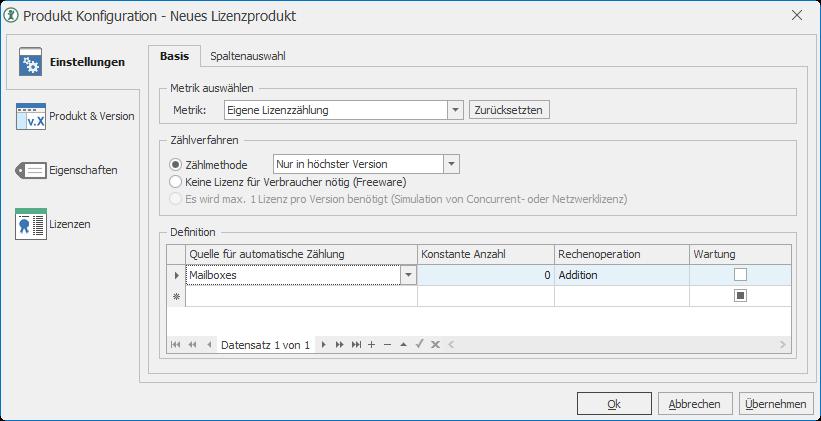Produktkonfiguration für Exchange Mailboxen