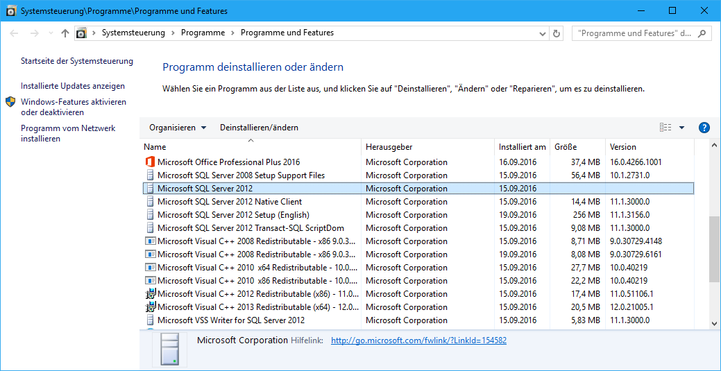 """SQL Server Einträge in """"Programme und Features"""""""