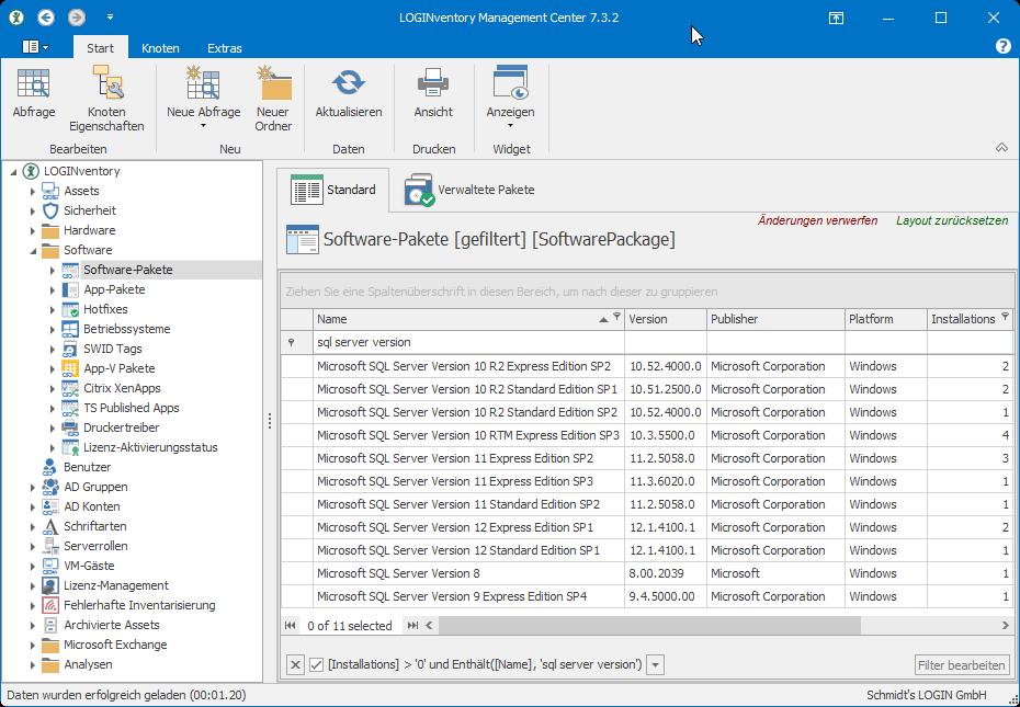 Ermitteln von SQL Server Version und Edition mit LOGINventory