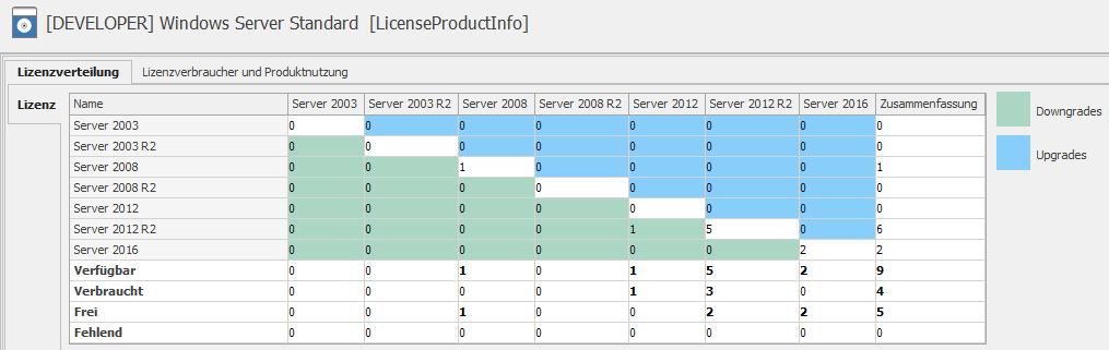 Übersicht über verbrauchte und verfügbare Lizenzen zum Betrieb von VMs auf einem Host