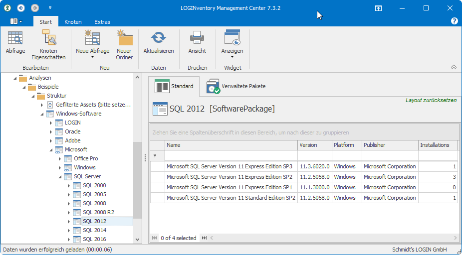 Mitgelieferte SQL Server Struktur