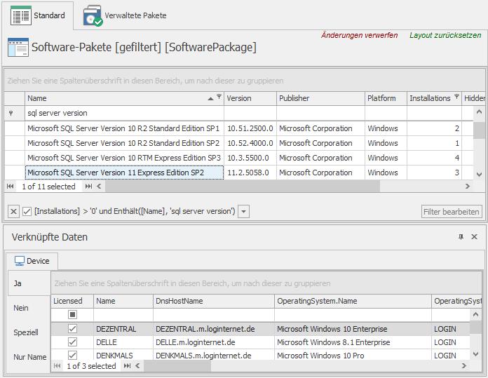 Verknüpfte Daten zur Auswahl eines Software-Pakets