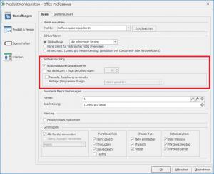 Nutzungsauswertung in der Produktkonfiguration aktivieren
