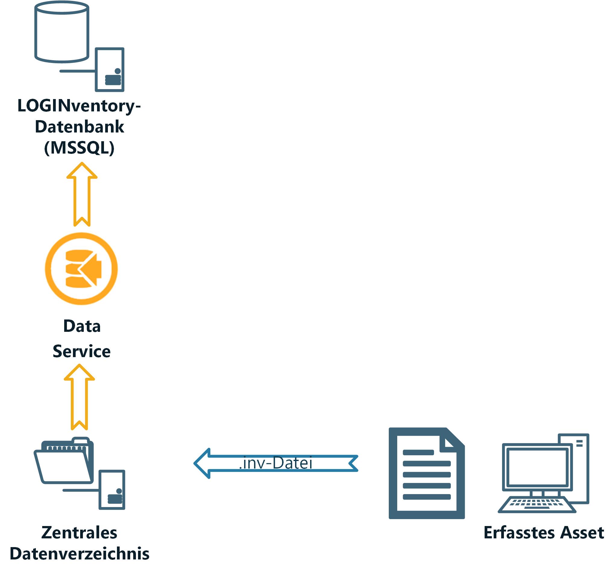 Arbeitsweise von LOGINventory: Erfassen von Daten und Eintragen in die Datenbank
