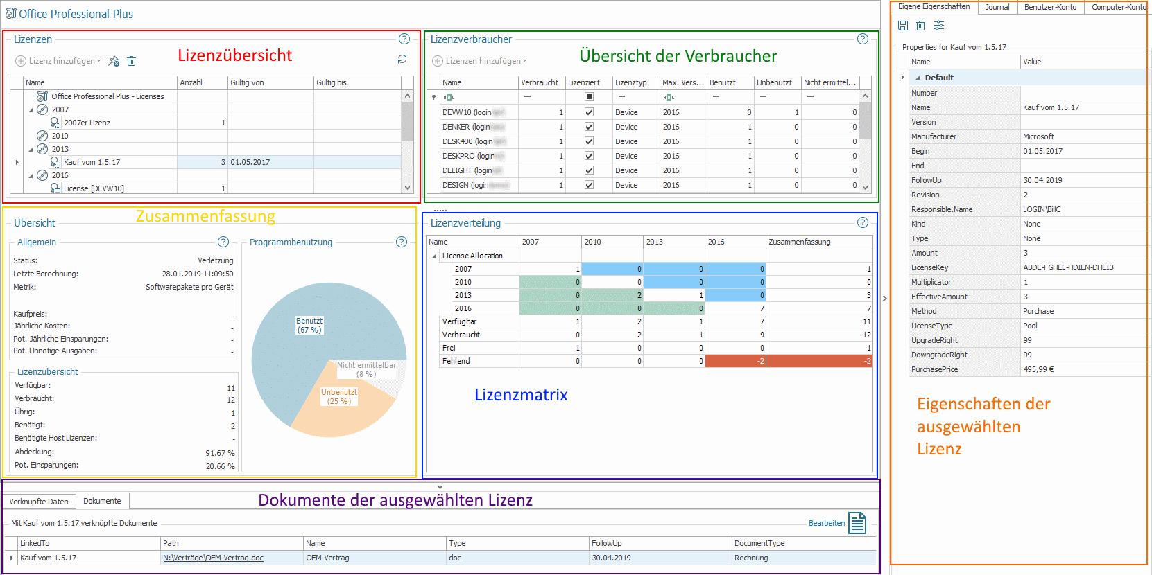 Produkt-Details im Lizenzmanagement
