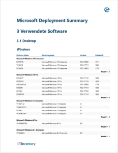 Microsoft Deployment Summary - Verwendete Software