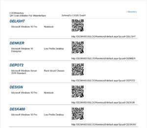 QR-Codes zum Aufbringen auf den Geräten