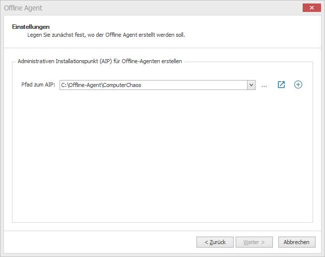 Ein Pfad, in dem die Setup-Dateien abgelegt werden sollen, muss angegeben werden