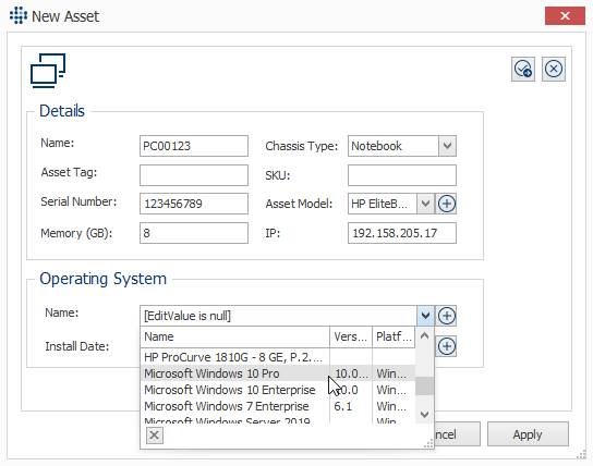 Adding Asset details manually