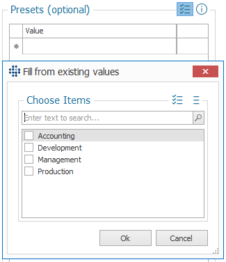 Fill presets from existing values