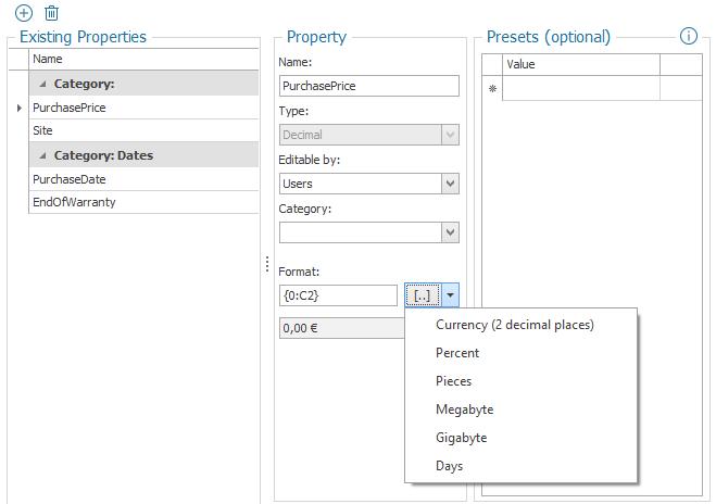 Formatting of Properties