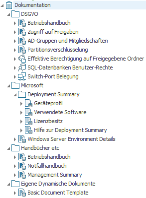 Auswahl an mitgelieferten Dynamischen Dokumenten