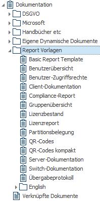 Auswahl an mitgelieferten Reporten und Berichten